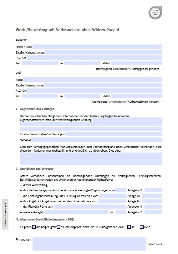 Werkvertrag Muster 1 Pdf Kostenfreier Download 1